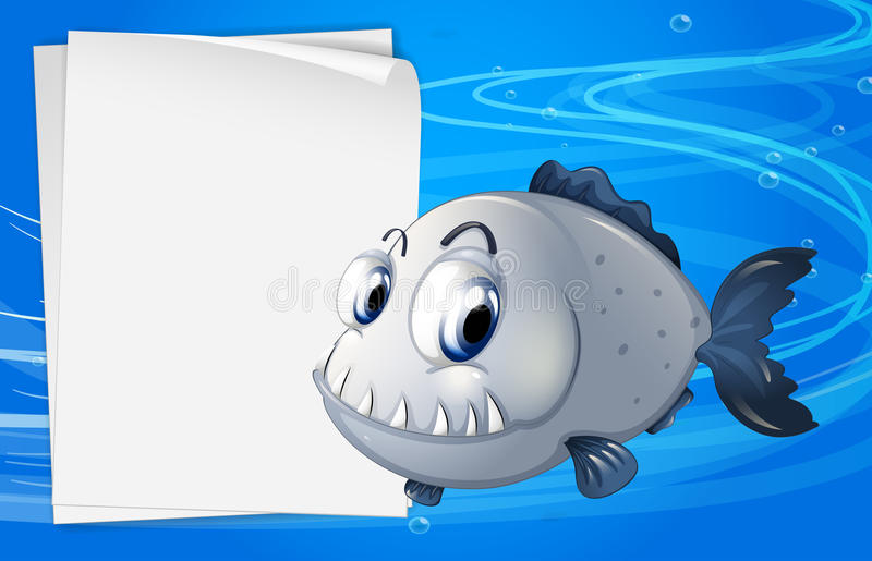 En piranha bredvid en tom signage under havet royaltyfri illustrationer