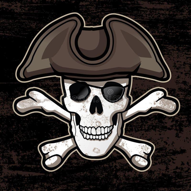 Piratkopiera skallen med hatten royaltyfri illustrationer