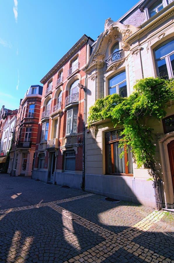 En pittoresk fot- gata med traditionell flamländsk arkitektur Historisk del av Antwerp arkivbild