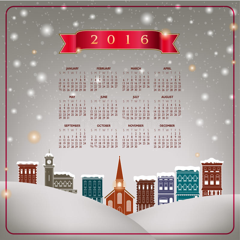 En 2016 pittoresk julbykalender stock illustrationer