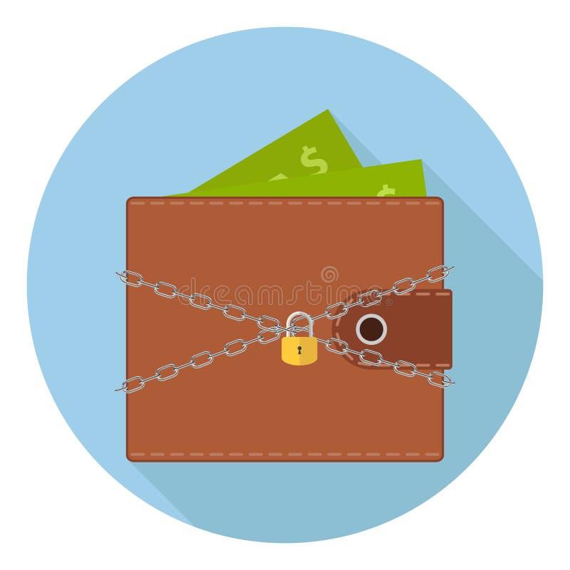 En plånbok med pengar under skydd En kedja med ett lås skyddar plånboken med pengar Begreppet av pengarsäkerhet vektor illustrationer
