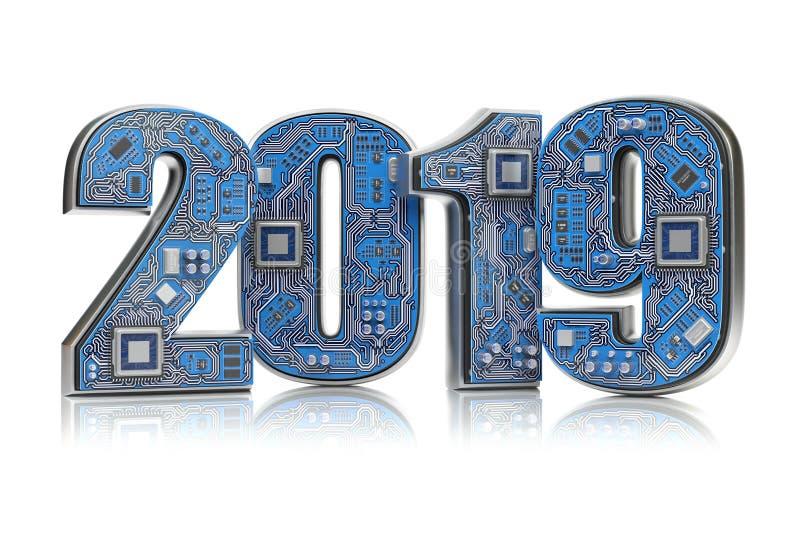 2019 en placa de circuito o la placa madre con la CPU aislada en blanco libre illustration