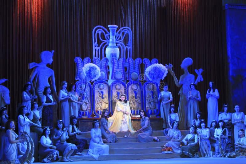 En plats från operan Aida royaltyfria bilder