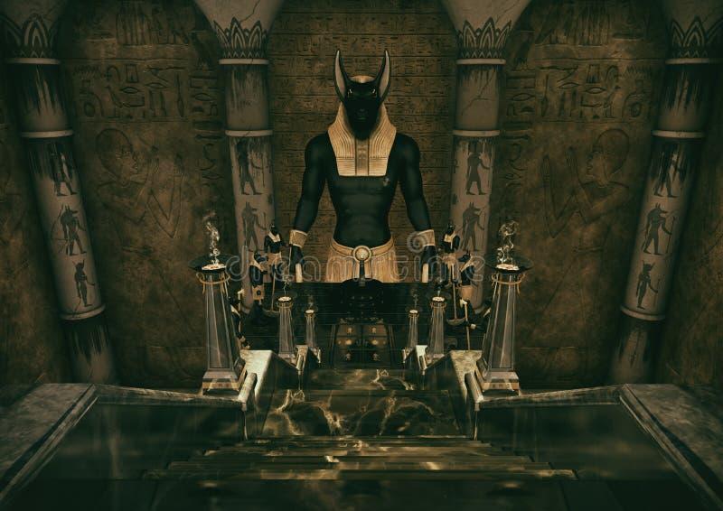 En plats med en stege som leder till en enorm staty av den egyptiska guden Anubis stock illustrationer