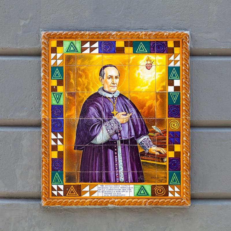 En platta av den missions- Saint Antonio Maria Claret royaltyfri bild
