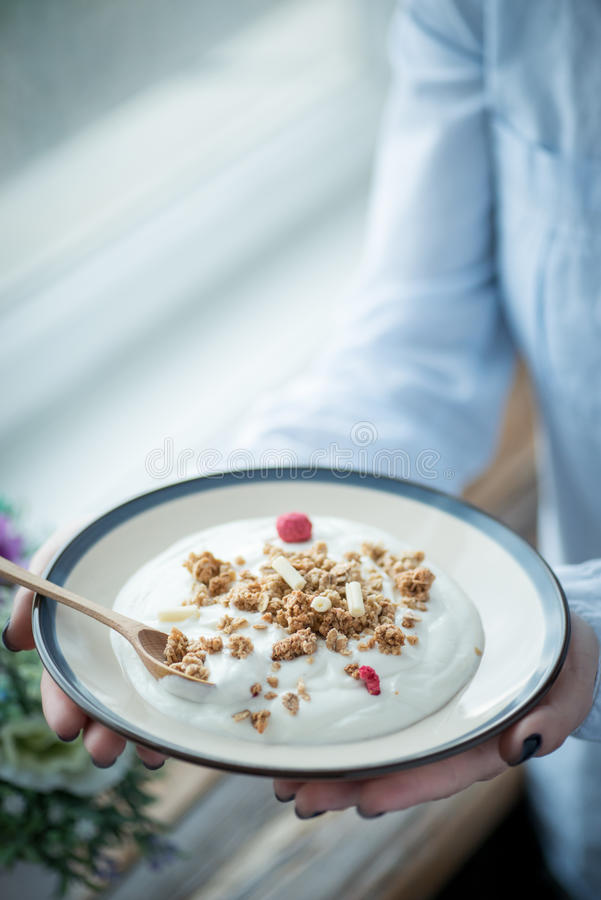En platta med ny yoghurt i kvinnas händer fotografering för bildbyråer