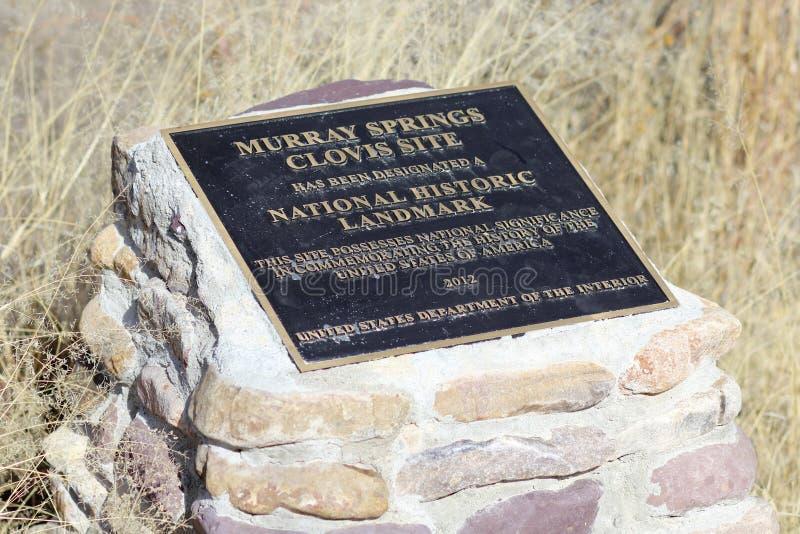 En platta på Murray Springs Clovis Site Trailhead royaltyfria bilder