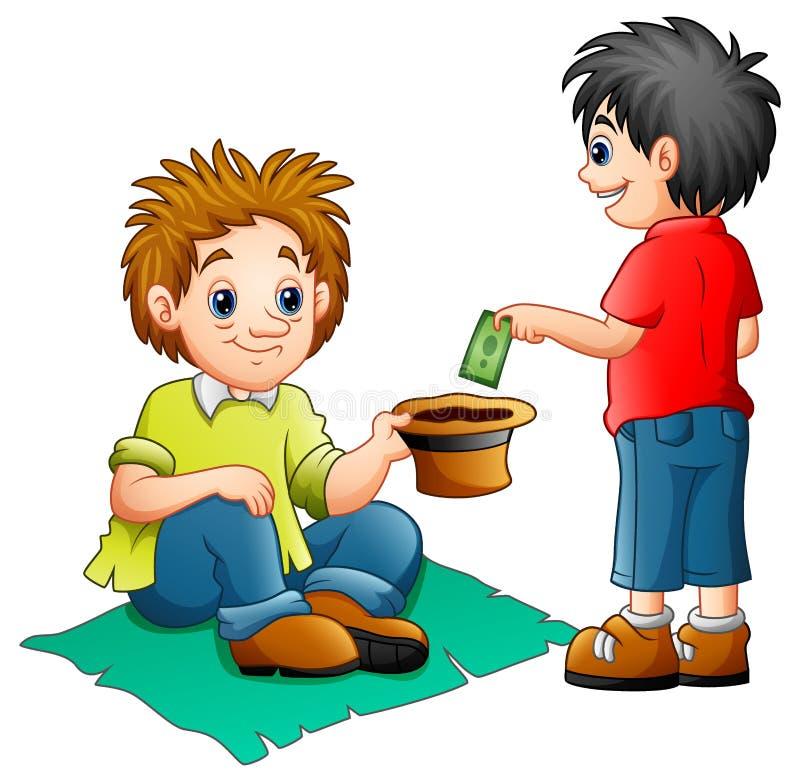 En pojke ger pengar till en tiggare stock illustrationer