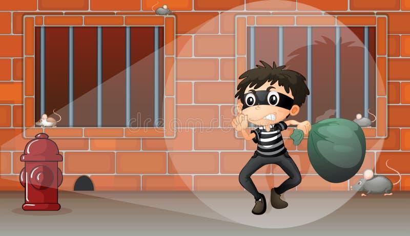 En pojke i arresten royaltyfri illustrationer