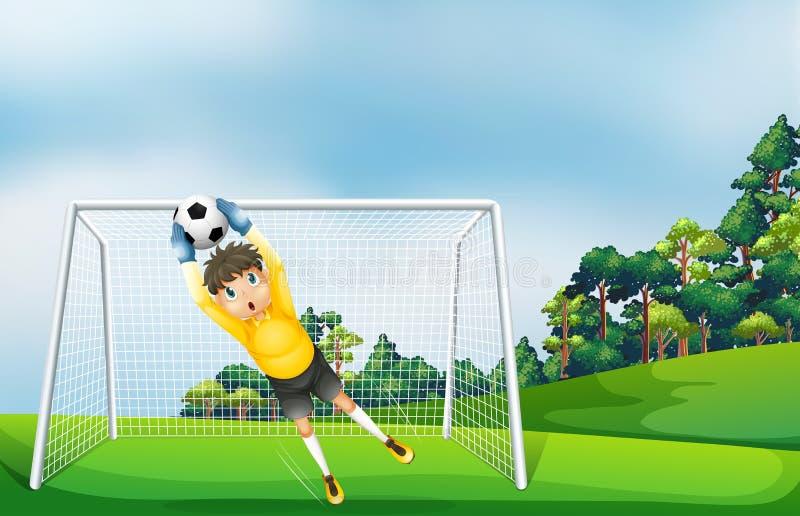 En pojke i en gul likformig som fångar bollen vektor illustrationer