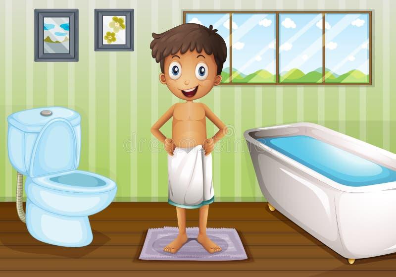 En pojke inom badrummet stock illustrationer