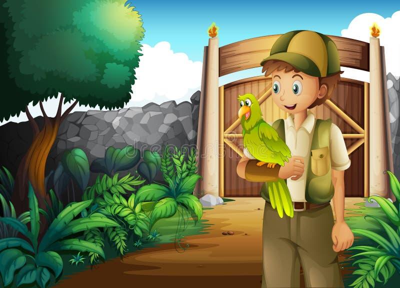 En pojke inom porten med hans papegoja royaltyfri illustrationer