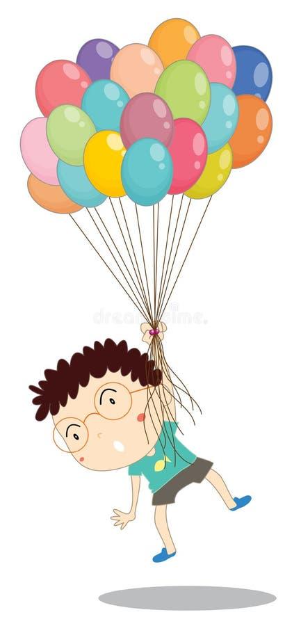 En pojke med ballonger stock illustrationer