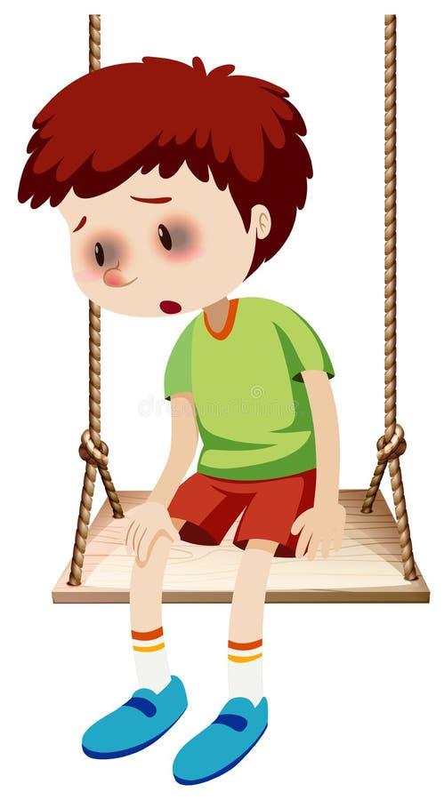 En pojke med blåtirablåmärket stock illustrationer