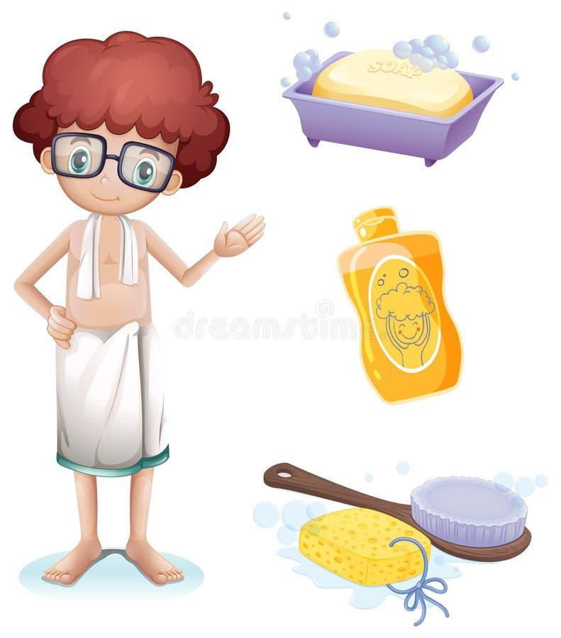 En pojke med en tvål, ett schampo, en borste och en svamp stock illustrationer