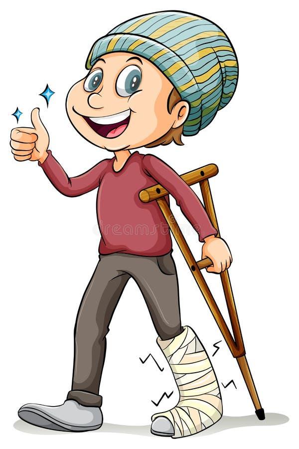 En pojke med ett brutit ben vektor illustrationer