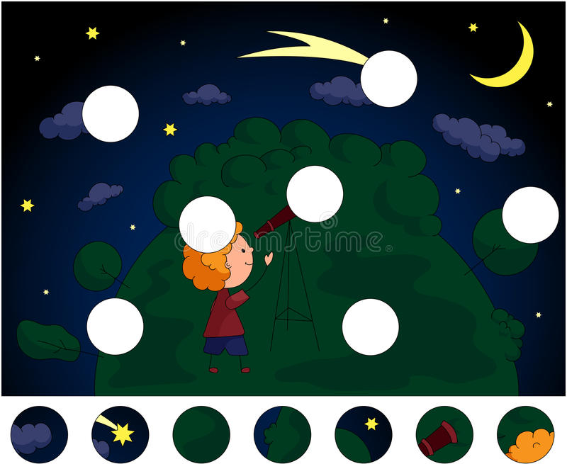 En pojke med ett teleskop som ser komet i intelligensen för natthimmel royaltyfri illustrationer