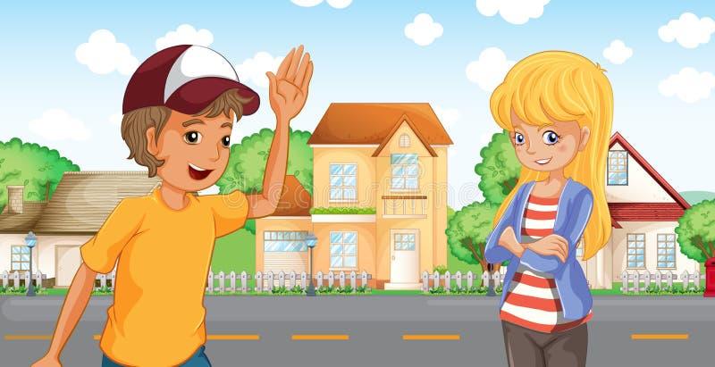 En pojke och en flicka som talar över grannskapen stock illustrationer