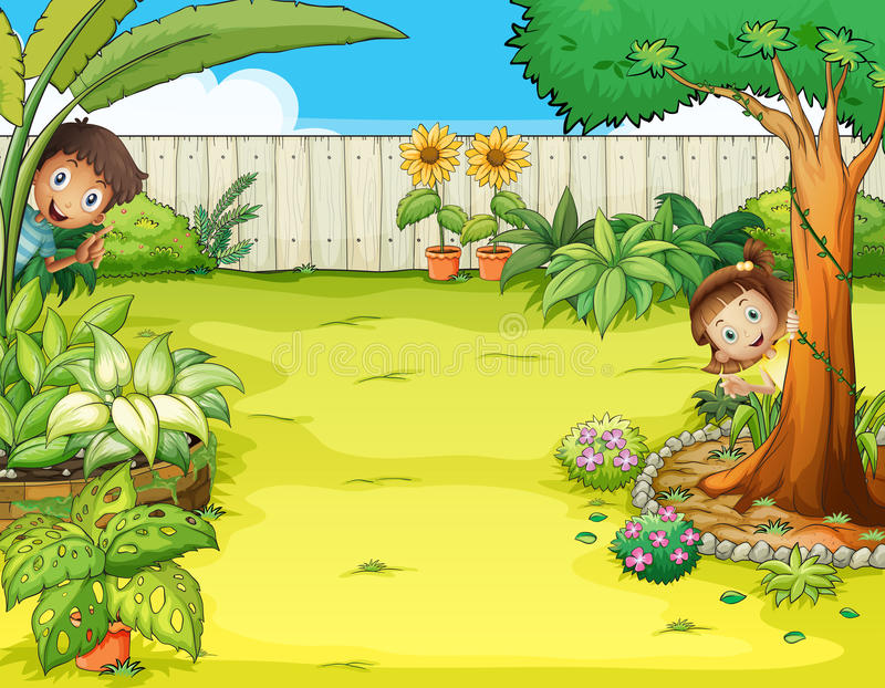 En pojke och ett flickanederlag i trädgården stock illustrationer