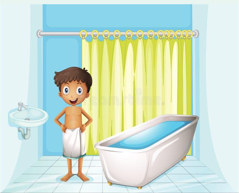 En pojke på badrummet royaltyfri illustrationer