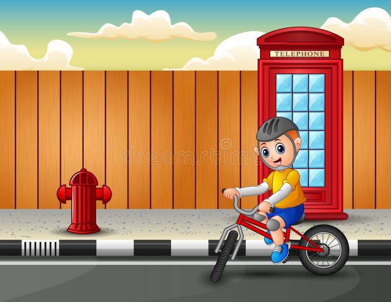 En pojke rider en cykel på huvudvägen stock illustrationer