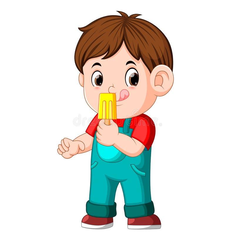 En pojke som äter fruktglass på en pinne vektor illustrationer