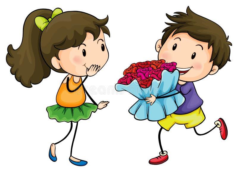 En pojke som ger hans flickvän en bukett av blommor stock illustrationer