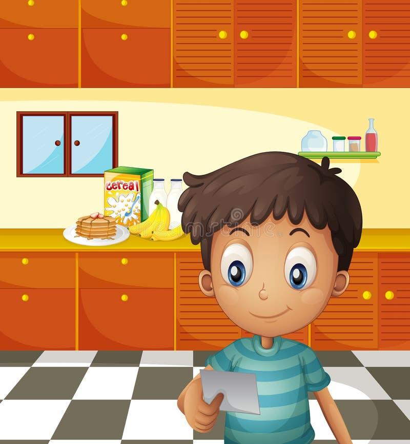 En pojke som läser ett recept vektor illustrationer
