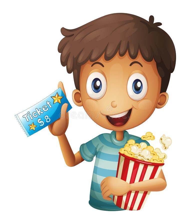 En pojke som rymmer en biljett och ett popcorn stock illustrationer