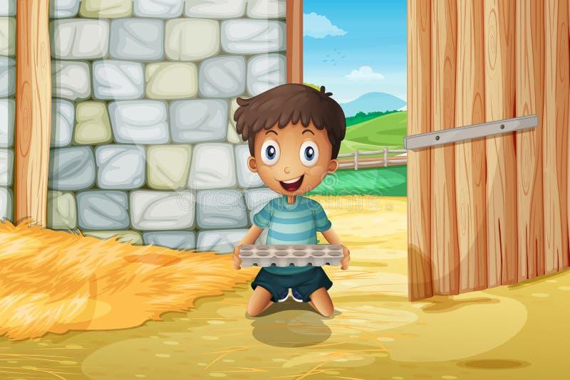 En pojke som rymmer ett tomt äggmagasin inom barnhousen stock illustrationer