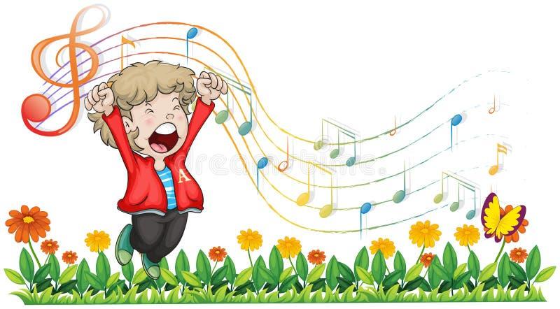 En pojke som sjunger på trädgården vektor illustrationer