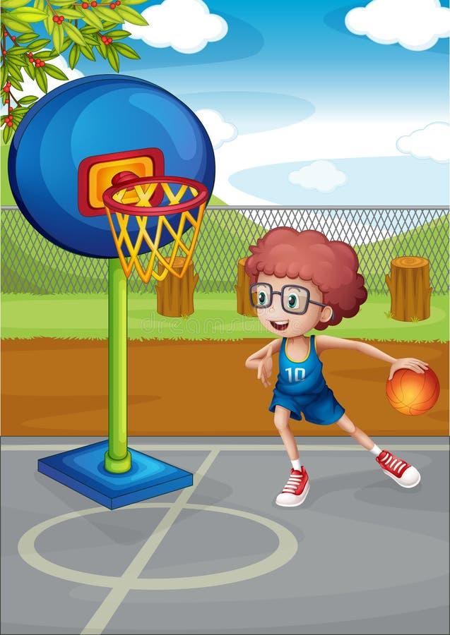En pojke som spelar basket royaltyfri illustrationer