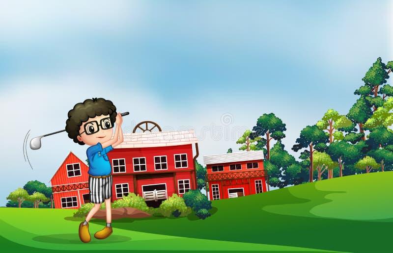 En pojke som spelar golf nära ladugården stock illustrationer