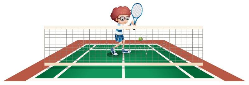 En pojke som spelar tennis på tennisbanan royaltyfri illustrationer