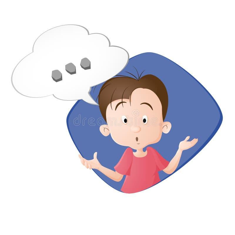 En pojke som tänker en tanke stock illustrationer