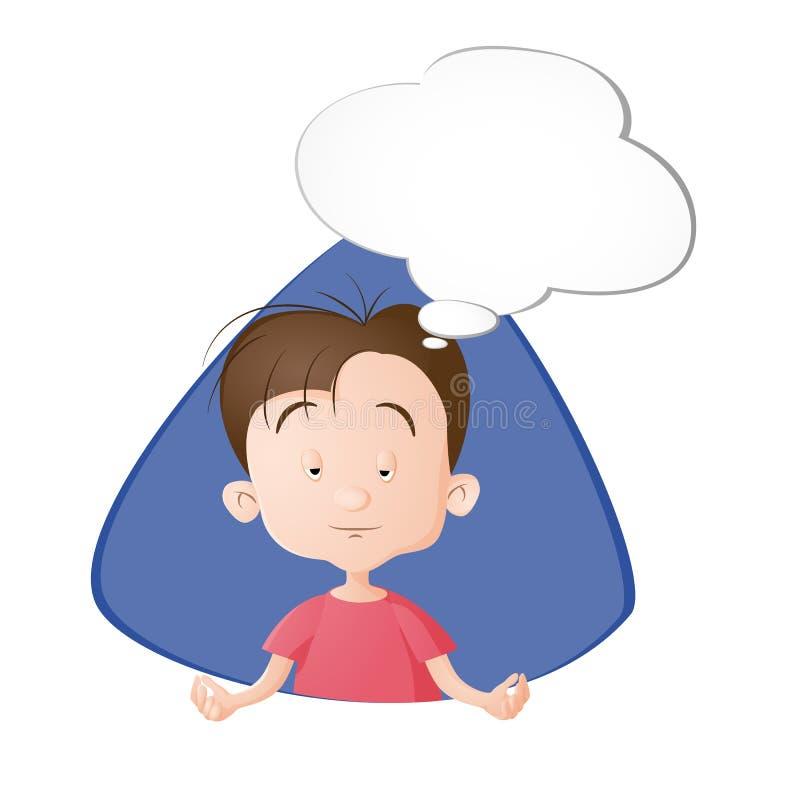 En pojke som tänker en tanke royaltyfri illustrationer