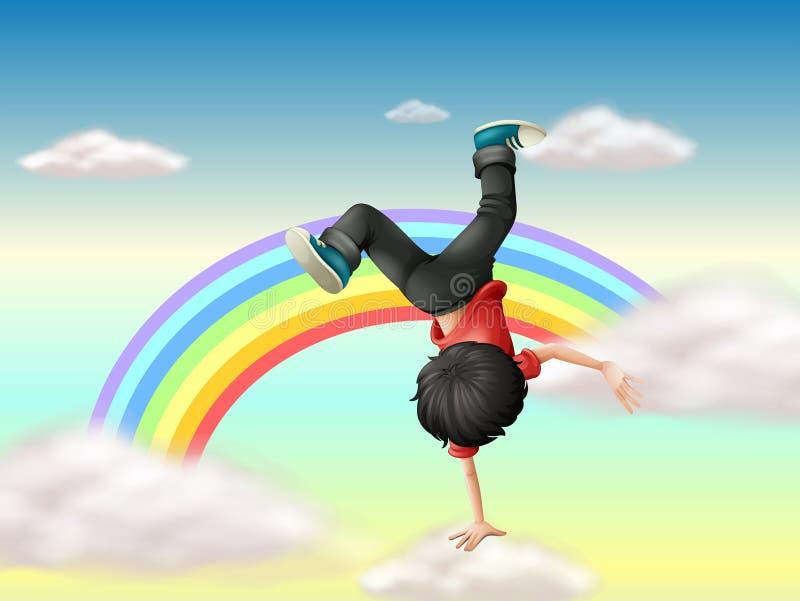 En pojke som utför en avbrottsdans längs regnbågen vektor illustrationer