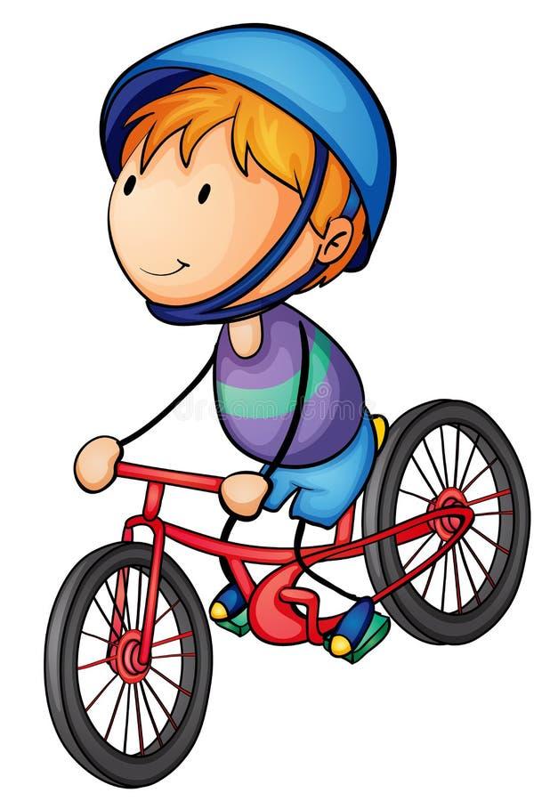 En pojkeridning på en cykel royaltyfri illustrationer