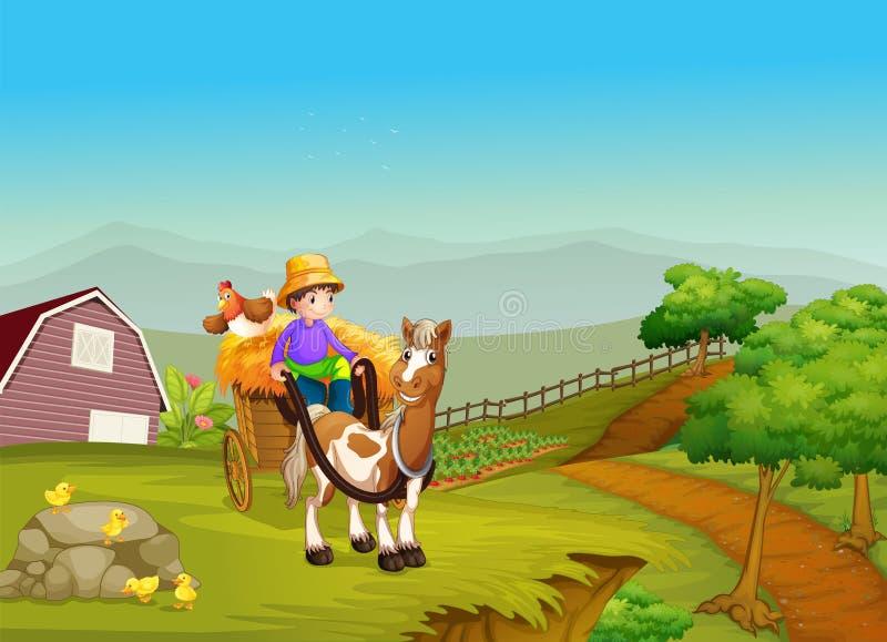 En pojkeridning på en vagn med en häst och en höna på bacen stock illustrationer