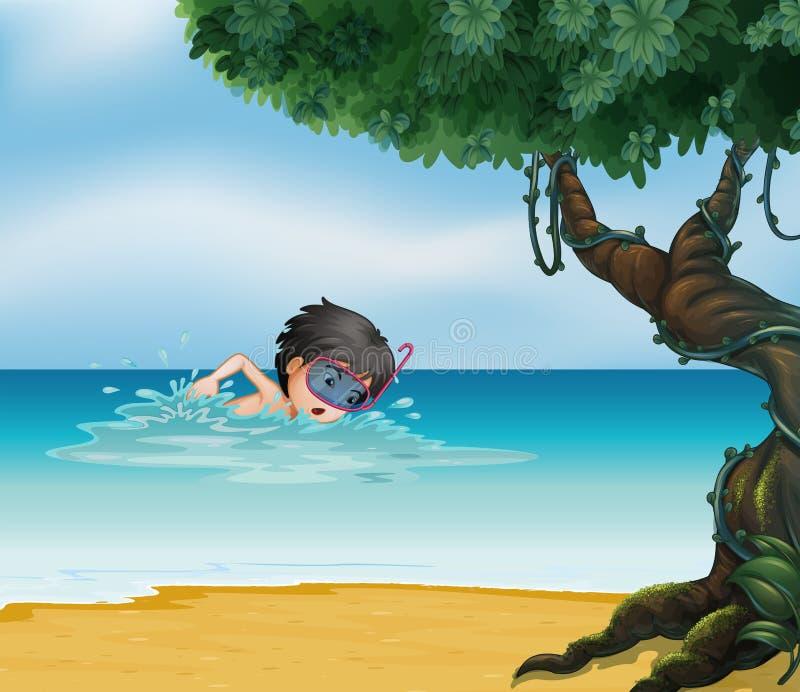 En pojkesimning nära ett gammalt träd royaltyfri illustrationer