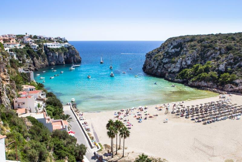 En Porter Beach de Cala, Menorca, Espanha fotos de stock royalty free