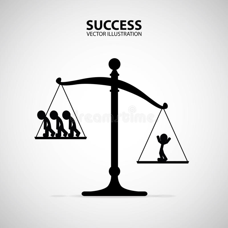 En positiv lycklig lyckad man som väger mer än många personer på våg Affärsman och framgångbegrepp vektor illustrationer