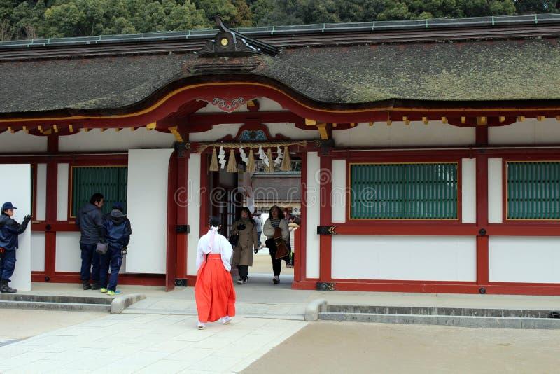 En priestess Miko runt om Dazaifu Tenmangu, Fukuoka, Japan arkivbilder