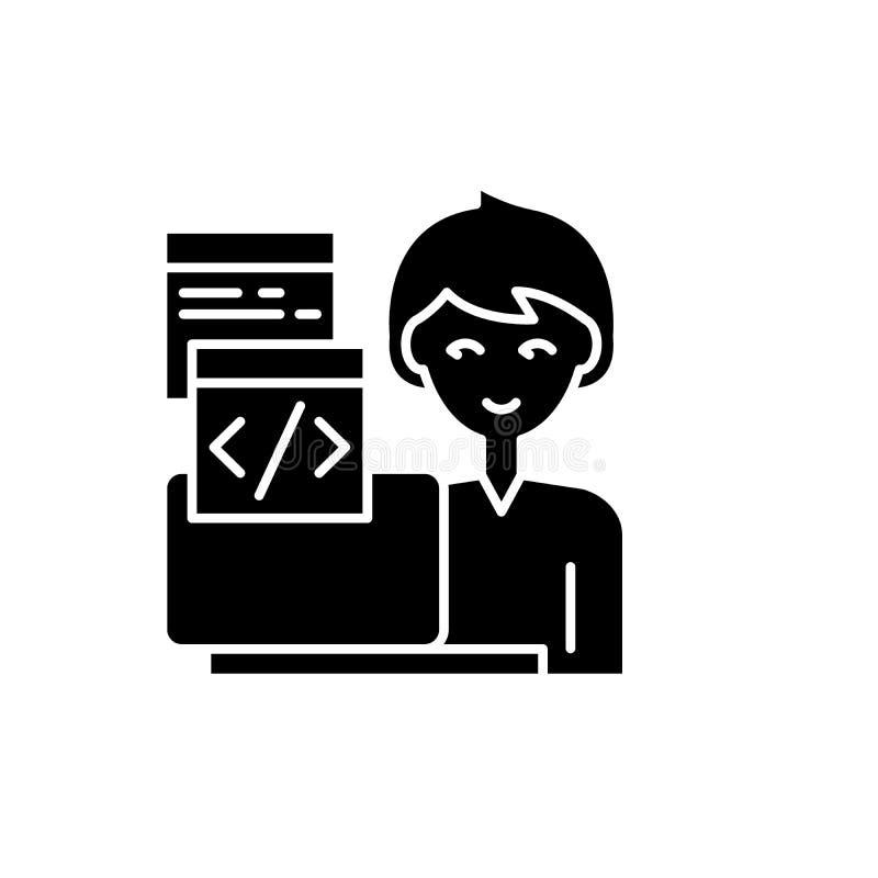 En programmant l'icône noire, dirigez pour se connecter le fond d'isolement Symbole de programmation de concept, illustration illustration libre de droits