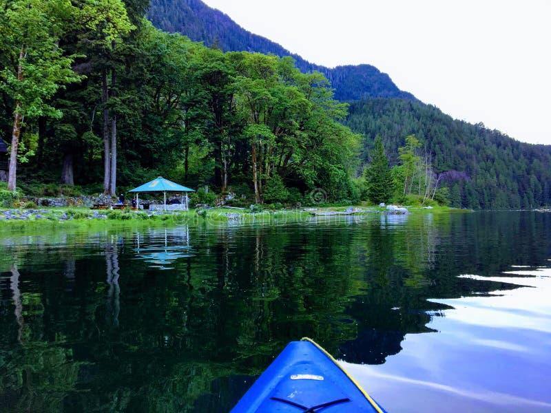 En punkt av siktsperspektivet från en person som kayaking på havet på en härlig fridsam afton längs kusterna av den forested kust arkivbilder