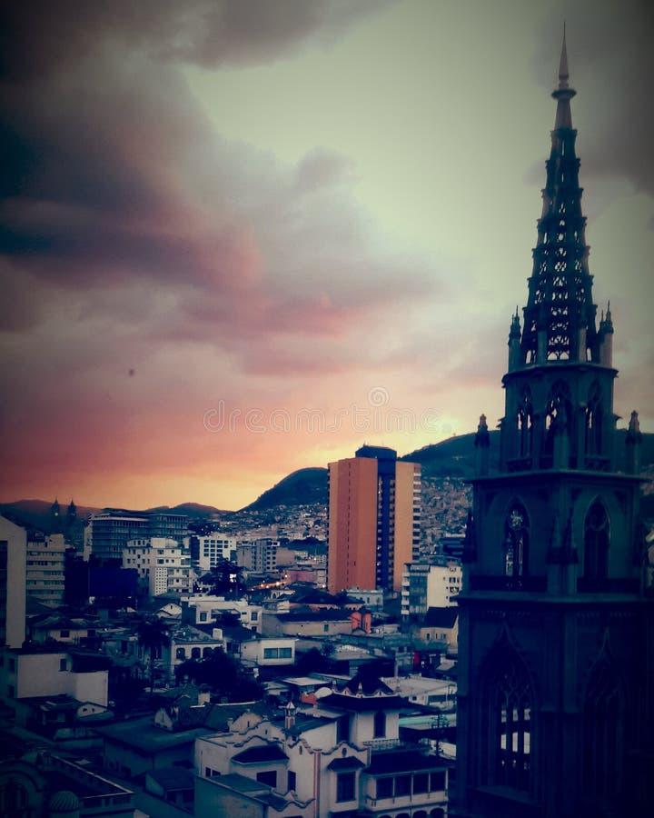En Quito Ecuador di Atardecer fotografia stock libera da diritti