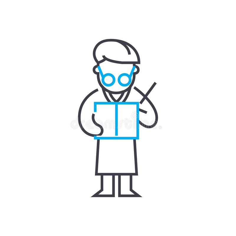 En rédigeant un rapport dirigez la ligne mince icône de course En rédigeant un rapport décrivez l'illustration, signe linéaire, c illustration libre de droits