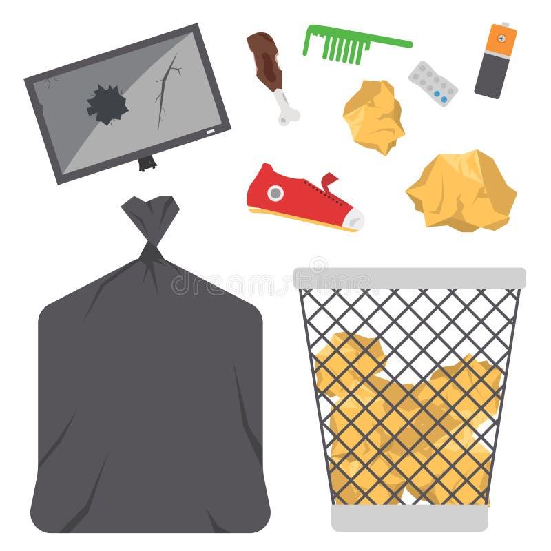 En réutilisant des déchets d'industrie d'écologie de gestion de pneus de sacs de déchets de vecteur de déchets utilisez l'illustr illustration stock