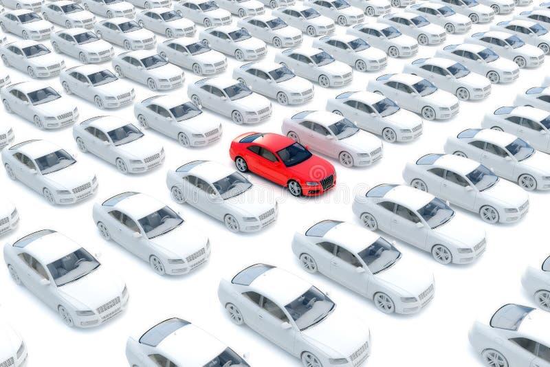 En röd bil med hundredsvit vektor illustrationer