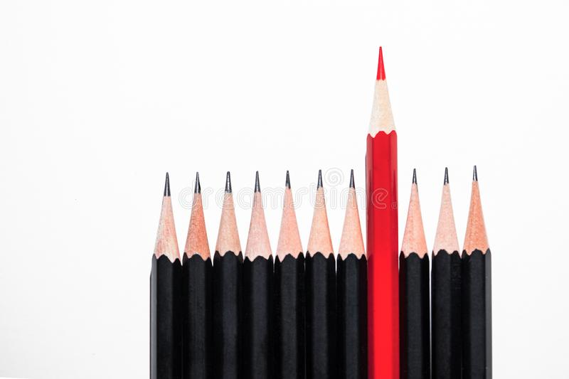 En röd blyertspenna bland svarta blyertspennor royaltyfria bilder